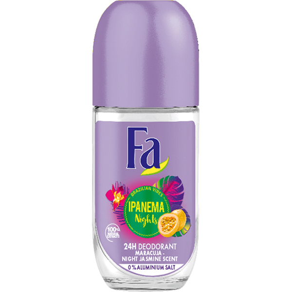 Deodorant roll-on antiperspirant FA Ipanema Nights, pentru femei, 50ml