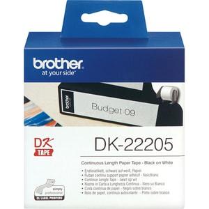 Banda etichete BROTHER DK-22205, 62 mm, 30.48 m, Negru pe Alb