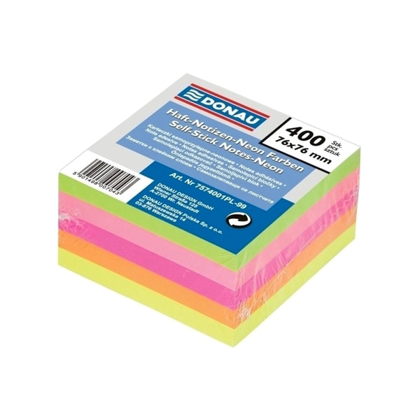 Notite autoadezive DONAU, 400 file, 76 x 76mm, diverse culori