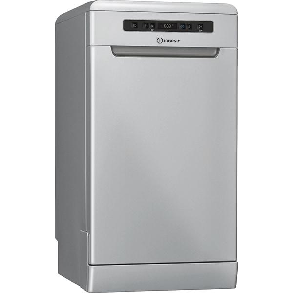 Masina de spalat vase independenta INDESIT DSFO 3T224 C S, 10 seturi, 9 programe, 45 cm, Clasa E, argintiu