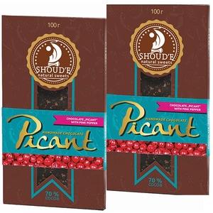 Ciocolata cu piper roz SHOUDE Picant, 100g, 2 bucati