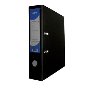 Biblioraft plastifiat/cartonat NOKI, A4, 75 mm, negru