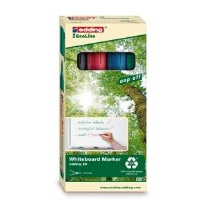 Marker pentru tabla EDDING 28, 1.5-3 mm, 4 culori (negru, rosu, albastru, verde)