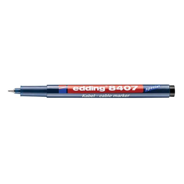 Marker permanent pentru cabluri EDDING 8407, 0.3 mm, 4 culori (negru, rosu, albastru, verde)