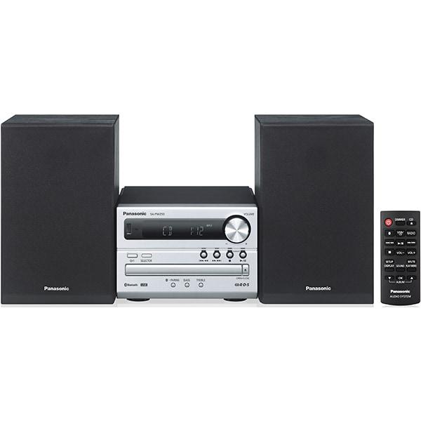 Microsistem audio PANASONIC SC-PM250ECS, 20W, Bluetooth, USB, DVD, Radio FM, argintiu