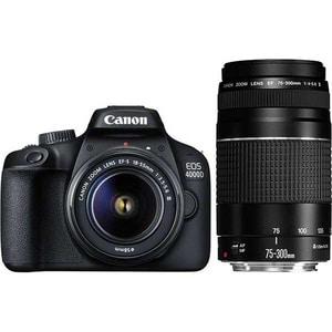 Aparat foto DSLR CANON EOS 4000D, 18 MP, Wi-Fi, negru + Obiectiv 18-55mm + Obiectiv 75-300mm