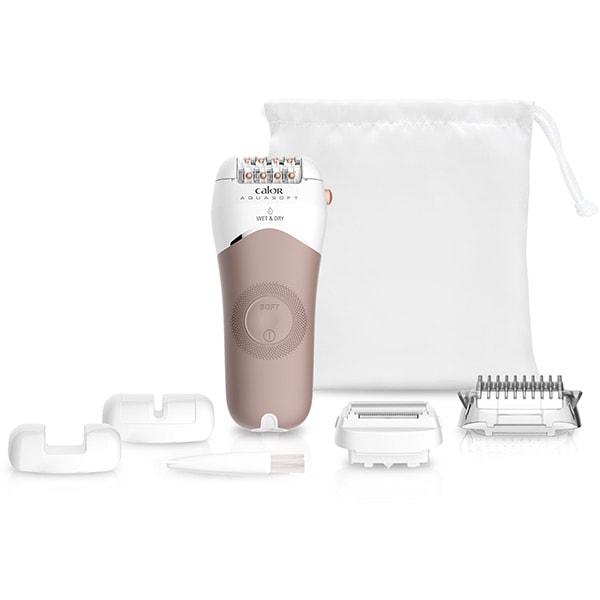Epilator ROWENTA Aqua Soft EP4930F0, 24 pensete, 2 viteze, 6 accesorii, acumulator, alb-argintiu