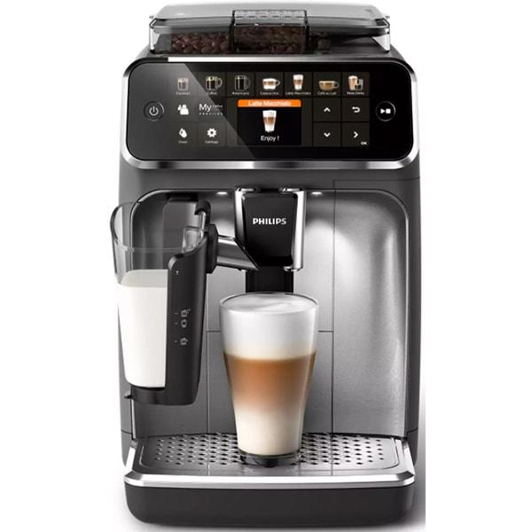 Espressor automat Philips LatteGo Seria 5400 EP5444/70, 1.8l, 1500W, 15 bar, gri inchis-argintiu