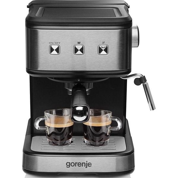 Espressor manual GORENJE ESCM12MBK, 1.5l, 850W, 15 bar, sistem Cappuccino, negru-argintiu