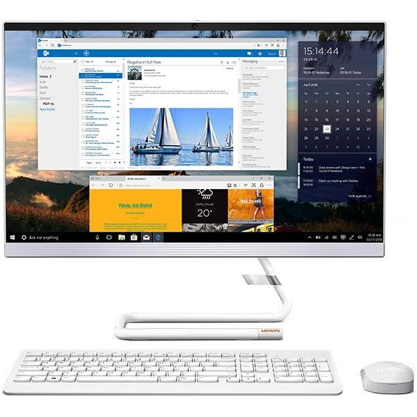 "Sistem PC All in One LENOVO IdeaCentre A340-24ICB, 23.8"" Full HD, Intel Core i5-9400T pana la 3.4GHz, 4GB, SSD 128GB + HDD 1TB, Intel UHD Graphics 630, Free Dos, alb"