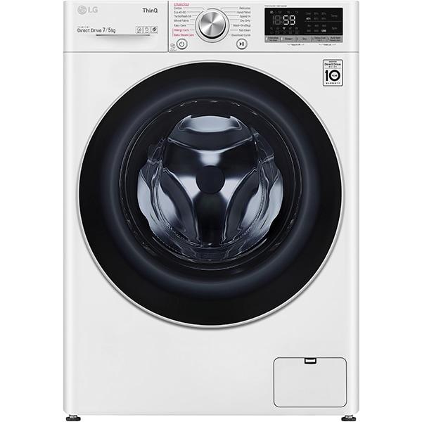 Masina de spalat rufe frontala slim cu uscator LG F2DV5S7S1E, Wi-Fi, 7/5 kg, 1200rpm, Clasa D, alb