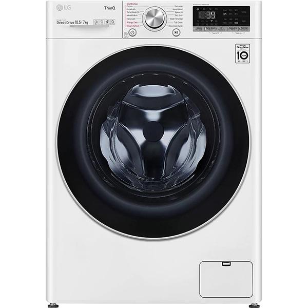 Masina de spalat rufe frontala cu uscator LG F4DV710S1E, Steam+, Wi-Fi, 10.5/7kg, 1400rpm, Clasa E, alb