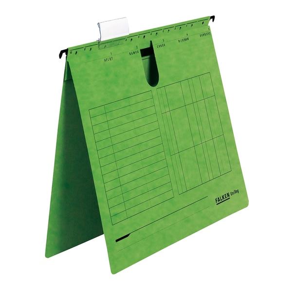 Dosar suspendabil cu sina FALKEN, A4, carton, 25 bucati, verde