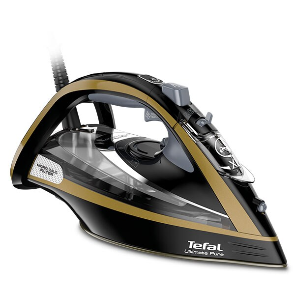 Fier de calcat TEFAL Ultimate Pure FV9865E0, 3000W, 250g/min, 350ml, talpa Durilium Airglide Autoclean, negru-auriu