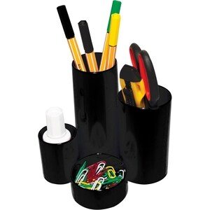 Suport instrumente de scris FLARO, 4 compartimente, plastic, negru