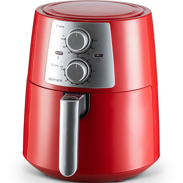 Friteuza cu aer cald DELIMANO Pro 110000000, 3.5l, 1400W, rosu-argintiu