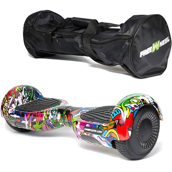 Hoverboard FREEWHEEL Complete Lite, 6.5 inch, viteza 12 km/h, motor 2 x 200W, graffiti mov + geanta transport cadou