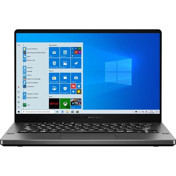 "Laptop Gaming ASUS ROG Zephyrus G14 AniMe Matrix GA401IV-HE092T, AMD Ryzen 7 4800HS pana la 4.2GHz, 14"" Full HD, 16GB, SSD 512GB, NVIDIA GeForce GTX 1660Ti Max-Q 6GB, Windows 10 Home, gri inchis"