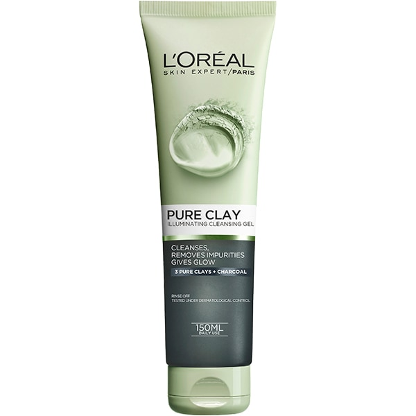 Gel de curatare iluminator L'OREAL PARIS Pure Clay, 150ml