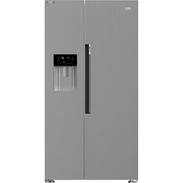Side by Side BEKO GN162341XBN, NeoFrost Dual Cooling, 571 l, H 179 cm, Clasa E, Dozator apa, argintiu