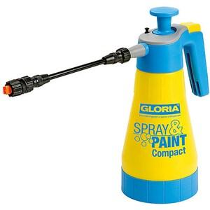 Pompa de stropit GLORIA Spray&Paint Compact, 1.25 L, 3 bar, pentru uleiuri si vopsele fara solvent, unghi de pulverizare 65, garnituri FKM, galben