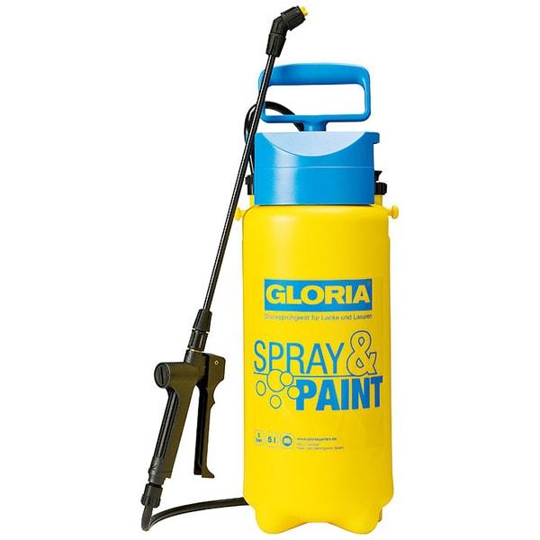 Pompa de stropit GLORIA Spray&Paint, 5L, 3 bar, pentru uleiuri si vopsele fara solvent, unghi de pulverizare 110, garnituri FKM, galben