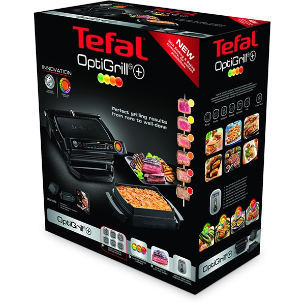 Gratar electric TEFAL OptiGrill+ Snacking & Baking GC714834, 2000W, 6 programe automate, negru