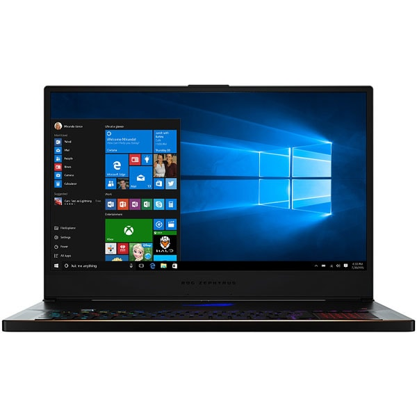 "Laptop Gaming ASUS ROG Zephyrus S GX701GWR-EV016T, Intel Core i7-9750H pana la 4.5GHz, 17.3"" Full HD, 16GB, SSD 1TB, NVIDIA GeForce RTX 2070 8GB, Windows 10 Home, Negru"