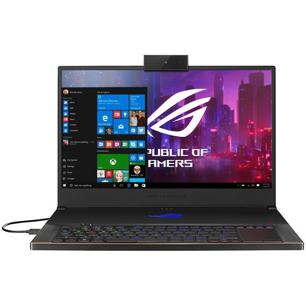 "Laptop Gaming ASUS ROG Zephyrus S GX701GXR-H6080T, Intel Core i7-9750H pana la 4.5GHz, 17.3"" Full HD, 24GB, SSD 1TB, NVIDIA GeForce RTX 2080 Max-Q Design 8GB, WebCam, Windows 10 Home, negru"