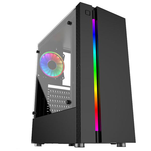 Carcasa FLOSTON Hero RGB Strip TG, USB 3.0, fara sursa, negru