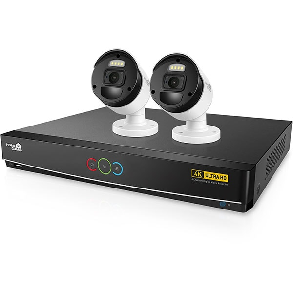 Kit supraveghere video HOMEGUARD HGDVK42802, 2 camere Ultra HD 2160p, DVR, 4 canale, senzor PIR, alb-negru
