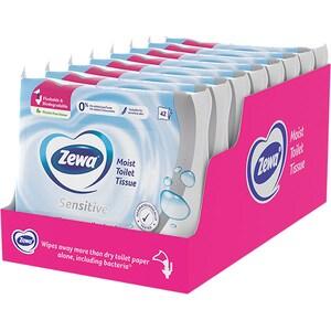 Hartie igienica umeda ZEWA Sensitive, 8 pachete, 42 bucati
