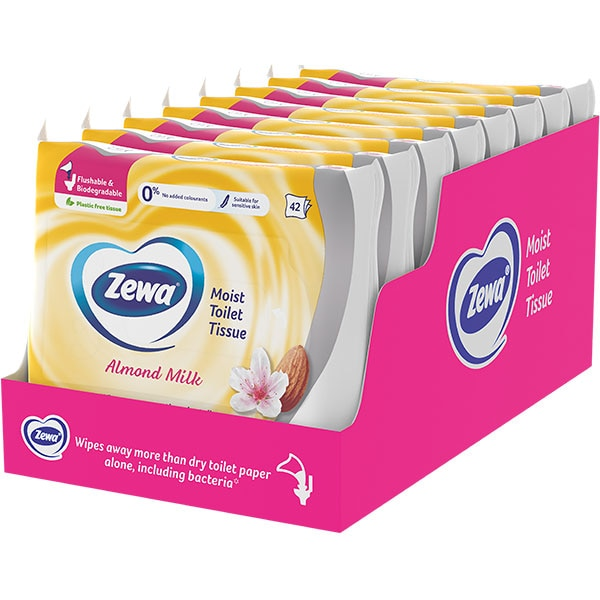 Hartie igienica umeda ZEWA Almond, 8 pachete, 42 bucati