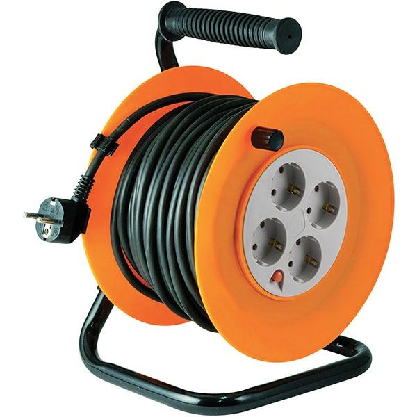 Prelungitor cu tambur metalic HOME HJR 4-25, 4 prize, 25m