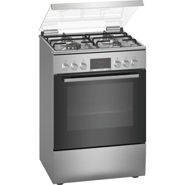 Aragaz BOSCH HXN39BD50, 4 arzatoare, mixt, L 60 cm, grill, inox