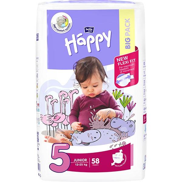 Scutece HAPPY Junior nr 5, Unisex, 12 - 25 kg, 58 buc
