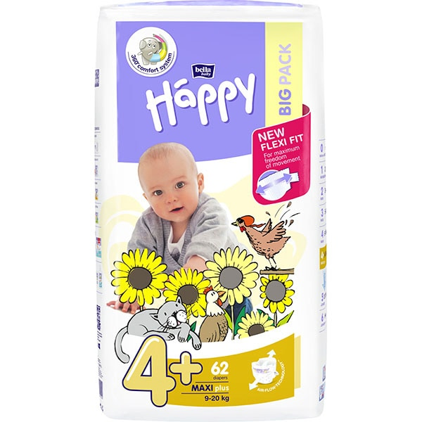 Scutece HAPPY Maxi Plus nr 4+, Unisex, 9 - 20 kg, 62 buc
