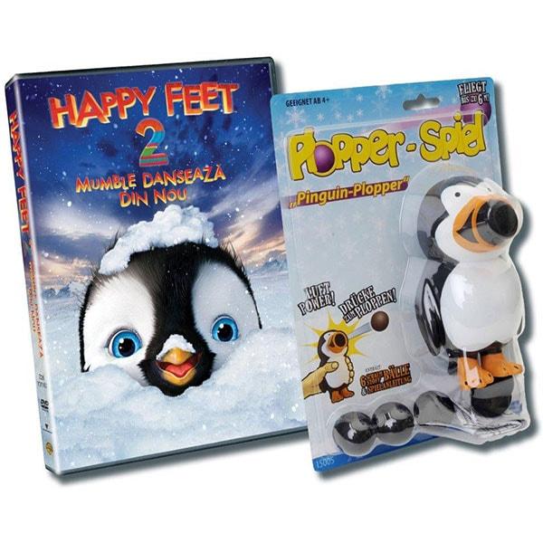 Pachet Happy Feet 2: Mumble danseaza din nou DVD + jucarie Pinguin Plopper