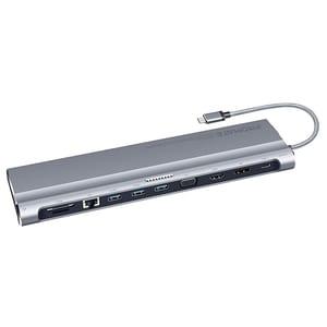 Hub USB Type-C PROMATE BaseLink-C, USB 3.0, Ethernet, HDMI, VGA, DisplayPort, SD/TF, gri