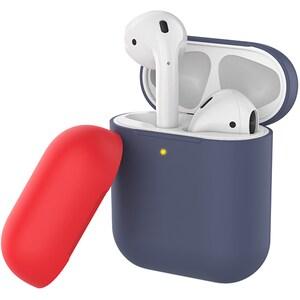 Husa pentru Apple AirPods PROMATE SiliCase, albastru inchis-rosu