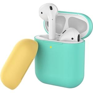 Husa pentru Apple AirPods PROMATE SiliCase, turcoaz-bej