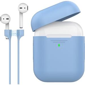 Husa pentru Apple AirPods + cablu magnetic PROMATE PodKit, albastru deschis