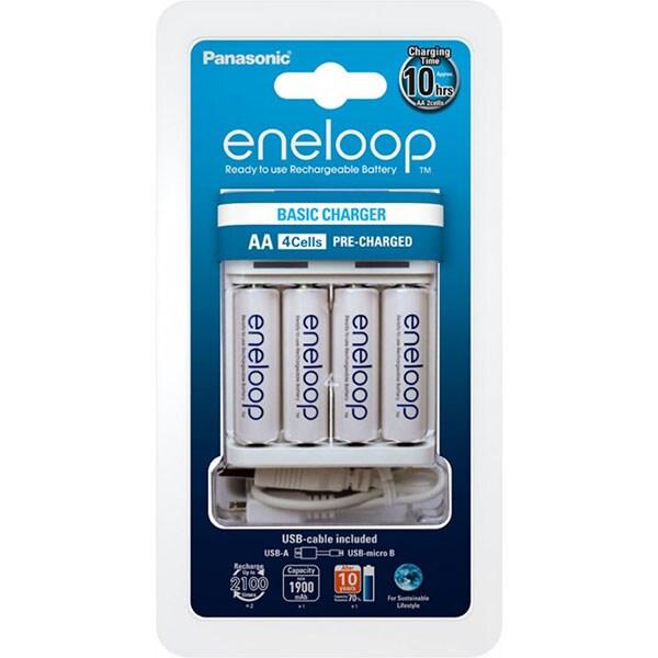 Incarcator PANASONIC Eneloop USB BQ-CC61 + 4 acumulatori, AA, 1900mAh, alb