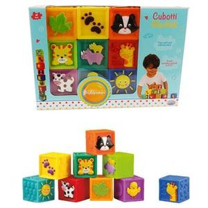 Puzzle cuburi cu imagini 2D BIDIBIMBI 36010J, 18 luni+, 9 piese