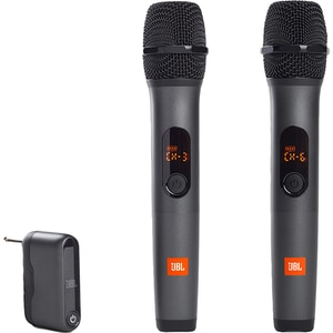Set 2 microfoane karaoke cu dongle wireless JBL JBLWIRELESSMIC, fara fir, negru
