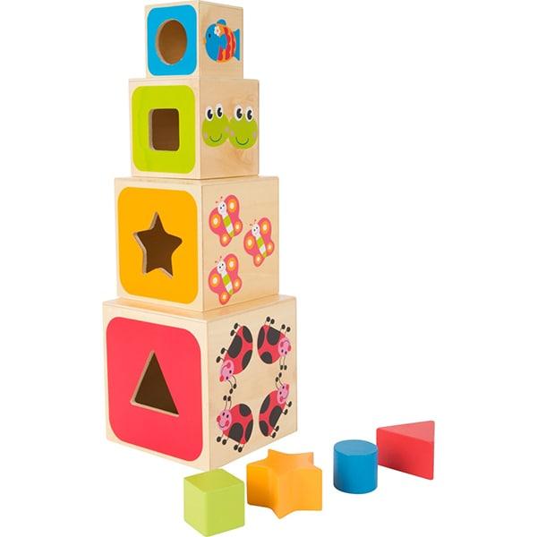 Jucarie interactiva LEGLER Cuburi mari ABC LE10627, 12 luni+, lemn, multicolor