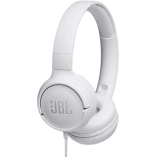 Casti JBL Tune 500, Cu fir, On-ear, Microfon, alb