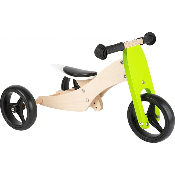 Tricicleta 2 in 1 LEGLER LE11255, 3 ani+, lemn, verde-negru