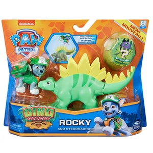 Set figurine PAW PATROL Catelus Rocky si Dinozaurul Stegosaurus 6058512_20129715, 3 ani+, verde-gri