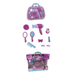 Geanta beauty de voiaj PEPERILLA 43778J: feon + oglinda + perie par + pieptan + 3 clipsuri par + parfum, 3 ani+, roz-bleu